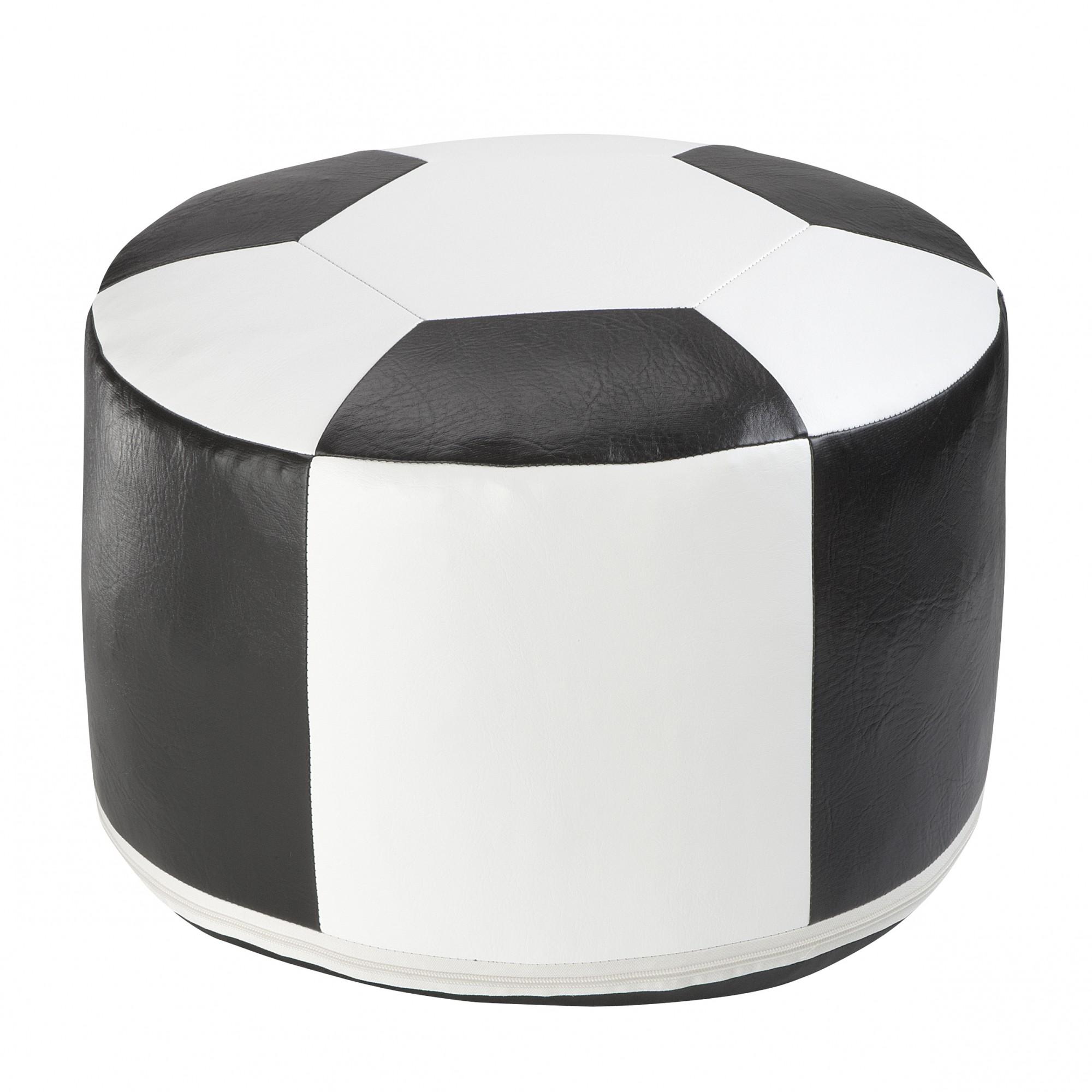 fu ball sitzkissen kunstleder weiss schwarz 6300301 50 34 cm. Black Bedroom Furniture Sets. Home Design Ideas