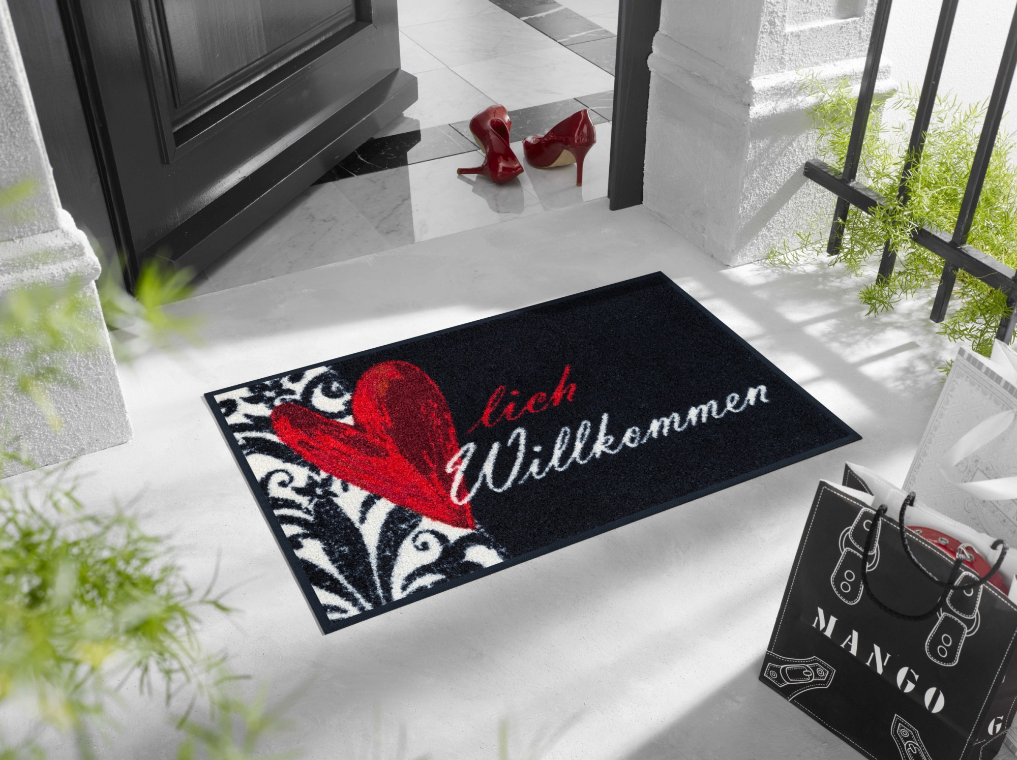 herzlich willkommen 50 x 75 cm waschbare fu matte wash dry. Black Bedroom Furniture Sets. Home Design Ideas